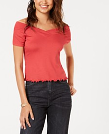 Ultra Flirt Juniors' Off-The-Shoulder Ribbed Top