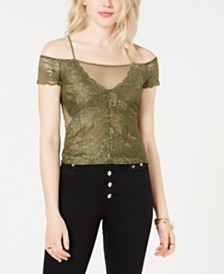 GUESS Lace Sheer-Trim Cold-Shoulder Top