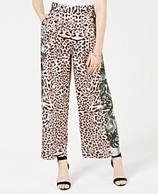 Terry Mixed-Print Wide-Leg Pants