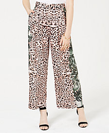 GUESS Terry Mixed-Print Wide-Leg Pants