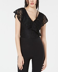 XOXO Juniors' V-Neck Lace Bodysuit