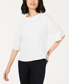 Bar III Ruffle-Sleeve Blouse, Created for Macy's
