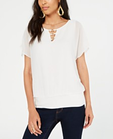 Thalia Sodi Embellished Banded-Hem Top, Created for Macy's