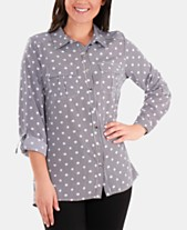 007cea1d110f81 NY Collection Dot-Print Utility Shirt
