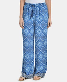 NY Collection Petite Border-Print Palazzo Pants