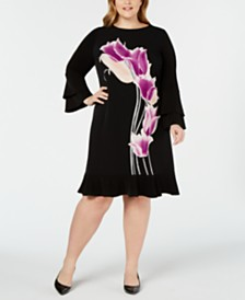 Alfani Plus Size Bell-Sleeve Fit & Flare Dress, Created for Macy's