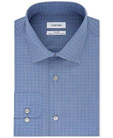 Calvin Klein Men's STEEL Classic/Regular Fit Non-Iron Performance Stretch Blue Pattern Dress Shirt