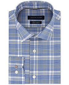 Tommy Hilfiger Men's Slim-Fit TH Flex Non-Iron Supima Stretch Navy Check Dress Shirt