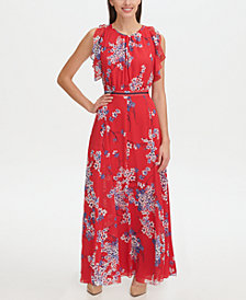 Tommy Hilfiger Eloise Floral Chiffon Flutter Sleeve Maxi Dress, Created for Macy's