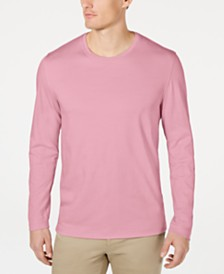 Tasso Elba Men's Supima® Blend Crewneck Long-Sleeve T-Shirt, Created for Macy's