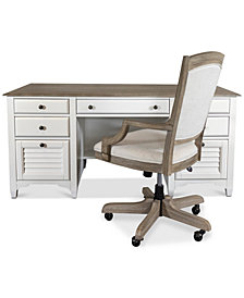 York Two-Tone Home Office, 2-Pc. Furniture Set (Two-Tone Executive Desk & Upholstered Desk Chair)