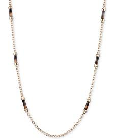 """Lauren Ralph Lauren Gold-Tone Tortoise-Look Barrel 42"""" Strand Necklace"""