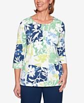 227b01bd1e9884 Alfred Dunner Cote D Azur Floral-Print Embellished-Pleat-Neck Top