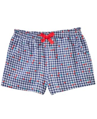 Baby Girls Cherry Check-Print Cotton Shorts, Created for Macy's