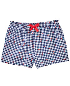 First Impressions Baby Girls Cherry Check-Print Cotton Shorts, Created for Macy's