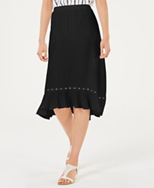 JM Collection Crinkle Texture Studded Skirt, Created for Macy's