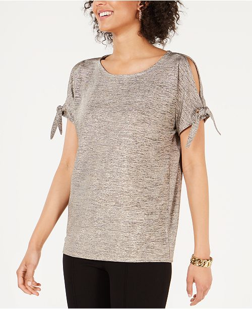 JM Collection Metallic Tie-Sleeve Top, Created for Macy's