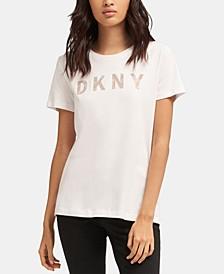 Crewneck Short-Sleeve Glitter-Logo T-Shirt