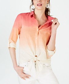 I.N.C. Cotton Ombré Tie-Front Shirt, Created for Macy's