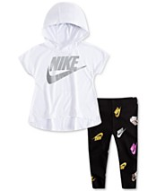 1111b7c3 Nike Baby Girls 2-Pc. Logo-Print Hoodie & Leggings Set