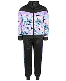 Ideology Little Girls Floral-Print Jacket & Colorblocked Track Pants, Created for Macy's