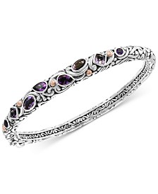 EFFY® Amethyst (2-3/4 ct. t.w.) Bangle Bracelet in Sterling Silver & 18k Rose Gold-Plate