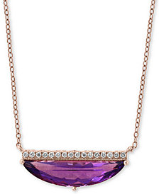 "EFFY® Amethyst (2-3/8 ct. t.w.) & Diamond Accent 18"" Statement Necklace in 14k Rose Gold"