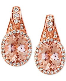 Peach & Nude Peach Morganite (1-3/4 ct. t.w.) & Nude Diamond (1/3 ct. t.w.) Drop Earrings in 14k Rose Gold