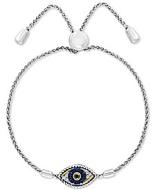 EFFY® Sapphire (1/10 ct. t.w.) & Diamond (1/10 ct. t.w.) Evil Eye Bolo Bracelet in 14k Gold & Sterling Silver