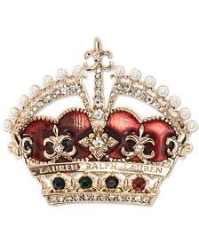 Lauren Ralph Lauren Gold-Tone Crystal & Imitation Pearl Crown Pin