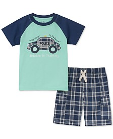 Kids Headquarters Little Boys 2-Pc. Police Appliqué T-Shirt & Plaid Shorts Set