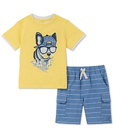 Kids Headquarters Little Boys 2-Pc. Layered-Look Dog Appliqué T-Shirt & Oxford Stripe Shorts Set
