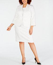 Kasper Plus Size Wide-Lapel Stretch Crepe Jacket & Sleeveless Jewel-Neck Dress