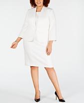 0591637211 Kasper Plus Size Wide-Lapel Stretch Crepe Jacket   Sleeveless Jewel-Neck  Dress