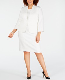 Kasper Plus Size Wide-Lapel Stretch Crepe Jacket & Sleeveless Jewel-Neck Dress