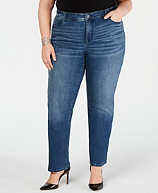 INC Plus Size Tummy Control Straight-Leg Jeans, Created for Macy's