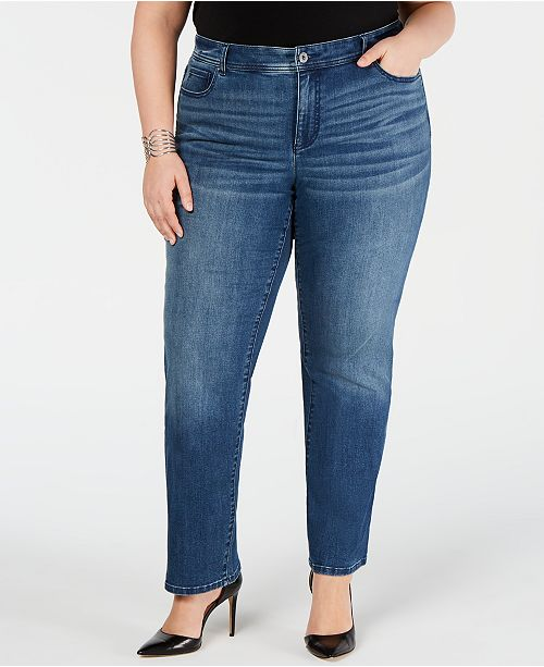 INC International Concepts I.N.C. Plus Size Tummy Control Straight-Leg Jeans, Created for Macy's