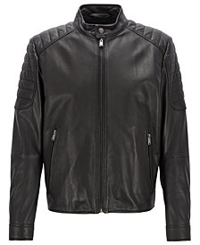 BOSS Men's Galini Regular-Fit Lambskin Leather Jacket