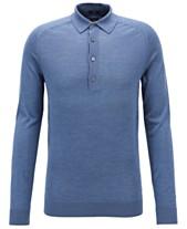 2512f27a1 BOSS Men's Fontani Slim-Fit Long-Sleeved Silk Polo Shirt
