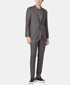 BOSS Men's Slim Fit Twill Virgin Wool Suit
