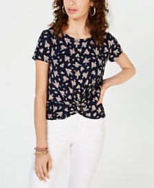 Hippie Rose Juniors' Floral-Print Twist-Front Top