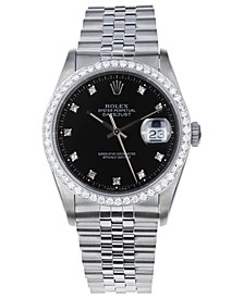 Men's Jubilee with Black Dial and Diamond Bezel, 36mm