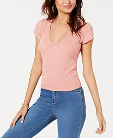 Juniors' Rib-Knit V-Neck T-Shirt