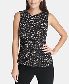 DKNY Sleeveless Side-Knot Top