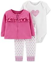 6d6e41eb6f6 Carter s Baby Girls 3-Pc. Ruffle Cotton Cardigan