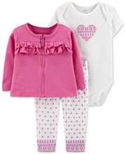 d855e5b83 Carter's Baby Girls 3-Pc. Ruffle Cotton Cardigan, Heart-Print Bodysuit &