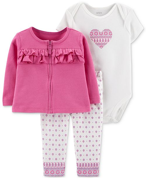 Carter's Baby Girls 3-Pc. Ruffle Cotton Cardigan, Heart-Print Bodysuit & Pants Set