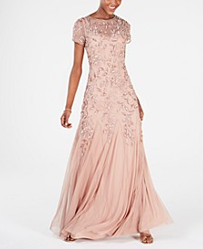 Petite Floral-Beaded Gown