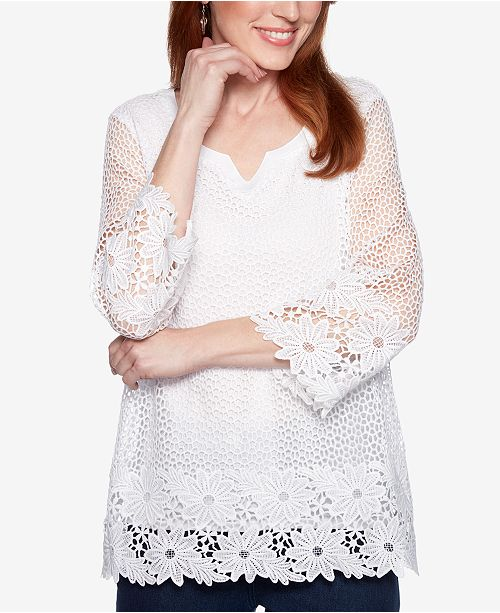 f032d164cc5 Alfred Dunner Smooth Sailing Crochet-Lace 3/4-Sleeve Top & Reviews ...
