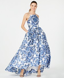 Betsy & Adam Printed High-Low Ballgown